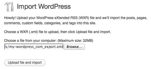 a screenshot of the wordpress importer